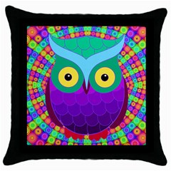 Groovy Owl Black Throw Pillow Case