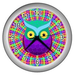 Groovy Owl Wall Clock (Silver)