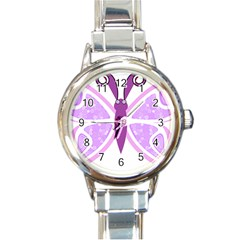 Whimsical Awareness Butterfly Round Italian Charm Watch