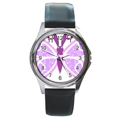Whimsical Awareness Butterfly Round Leather Watch (silver Rim)