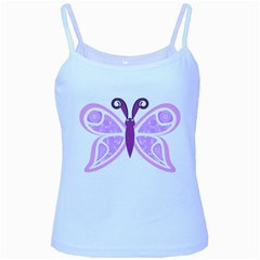 Whimsical Awareness Butterfly Baby Blue Spaghetti Tank