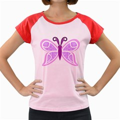 Whimsical Awareness Butterfly Women s Cap Sleeve T Shirt (colored)