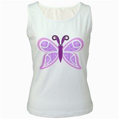 Whimsical Awareness Butterfly Women s Tank Top (White)