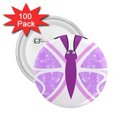 Whimsical Awareness Butterfly 2.25  Button (100 pack)