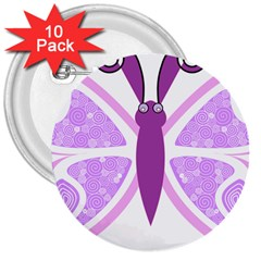 Whimsical Awareness Butterfly 3  Button (10 pack)
