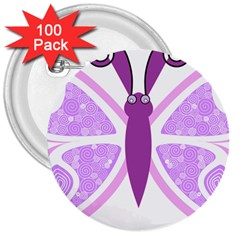 Whimsical Awareness Butterfly 3  Button (100 pack)