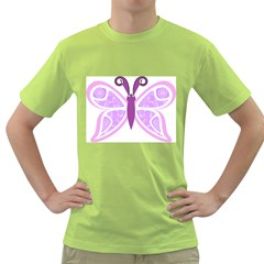 Whimsical Awareness Butterfly Men s T-shirt (Green)