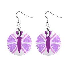 Whimsical Awareness Butterfly Mini Button Earrings