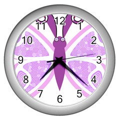 Whimsical Awareness Butterfly Wall Clock (Silver)