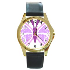 Whimsical Awareness Butterfly Round Leather Watch (Gold Rim)