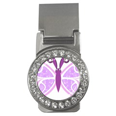 Whimsical Awareness Butterfly Money Clip (CZ)