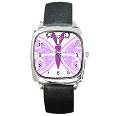 Whimsical Awareness Butterfly Square Leather Watch