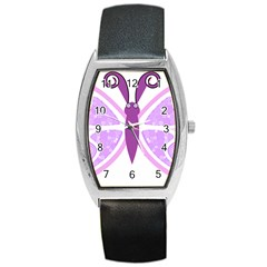 Whimsical Awareness Butterfly Tonneau Leather Watch