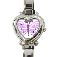Whimsical Awareness Butterfly Heart Italian Charm Watch