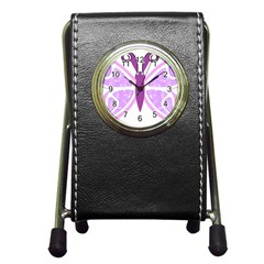 Whimsical Awareness Butterfly Stationery Holder Clock