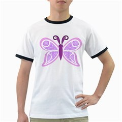 Whimsical Awareness Butterfly Men s Ringer T-shirt