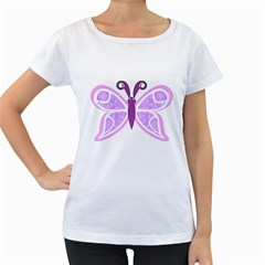 Whimsical Awareness Butterfly Women s Loose-Fit T-Shirt (White)