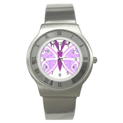 Whimsical Awareness Butterfly Stainless Steel Watch (slim)