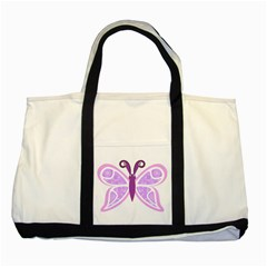 Whimsical Awareness Butterfly Two Toned Tote Bag