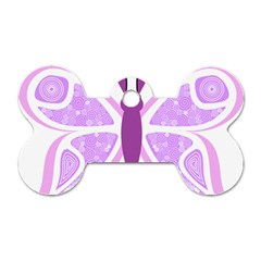 Whimsical Awareness Butterfly Dog Tag Bone (Two Sided)