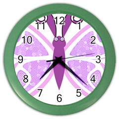 Whimsical Awareness Butterfly Wall Clock (Color)