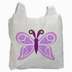 Whimsical Awareness Butterfly White Reusable Bag (One Side)