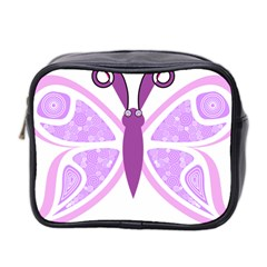 Whimsical Awareness Butterfly Mini Travel Toiletry Bag (Two Sides)