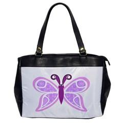 Whimsical Awareness Butterfly Oversize Office Handbag (One Side)