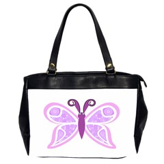 Whimsical Awareness Butterfly Oversize Office Handbag (Two Sides)