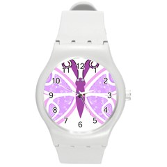 Whimsical Awareness Butterfly Plastic Sport Watch (medium)