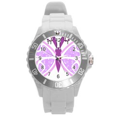Whimsical Awareness Butterfly Plastic Sport Watch (Large)