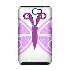 Whimsical Awareness Butterfly Samsung Galaxy Note 2 Hardshell Case (PC+Silicone)