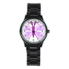 Whimsical Awareness Butterfly Sport Metal Watch (Black)