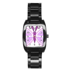 Whimsical Awareness Butterfly Stainless Steel Barrel Watch