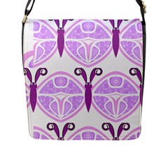 Whimsical Awareness Butterfly Flap Closure Messenger Bag (large)