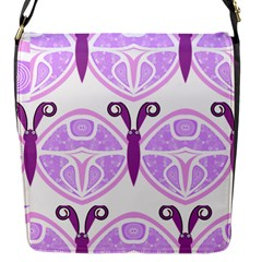 Whimsical Awareness Butterfly Flap Closure Messenger Bag (Small)