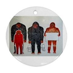 1 Neanderthal & 3 Big Foot,on White, Round Ornament