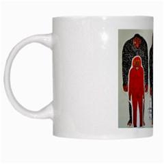 1 Neanderthal & 3 Big Foot,on White, White Coffee Mug