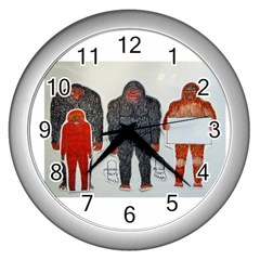 1 Neanderthal & 3 Big Foot,on White, Wall Clock (Silver)