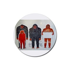 1 Neanderthal & 3 Big Foot,on White, Drink Coasters 4 Pack (round)