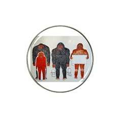1 Neanderthal & 3 Big Foot,on White, Golf Ball Marker 10 Pack (for Hat Clip)