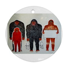 1 Neanderthal & 3 Big Foot,on White, Round Ornament (Two Sides)
