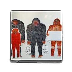 1 Neanderthal & 3 Big Foot,on White, Memory Card Reader With Storage (square)