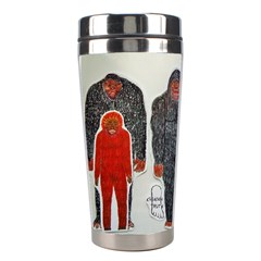 1 Neanderthal & 3 Big Foot,on White, Stainless Steel Travel Tumbler