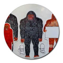 1 Neanderthal & 3 Big Foot,on White, 8  Mouse Pad (round)