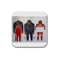 1 Neanderthal & 3 Big Foot,on White, Drink Coasters 4 Pack (square)