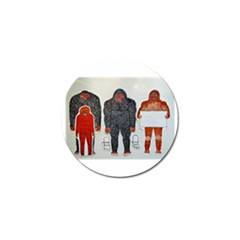 1 Neanderthal & 3 Big Foot,on White, Golf Ball Marker 4 Pack