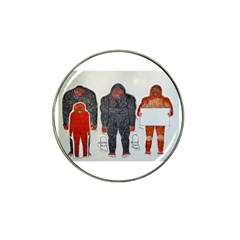 1 Neanderthal & 3 Big Foot,on White, Golf Ball Marker 4 Pack (for Hat Clip)