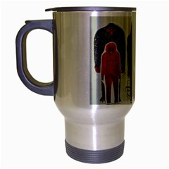 1 Neanderthal & 3 Big Foot,on White, Travel Mug (Silver Gray)