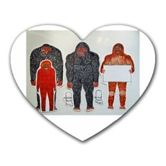 1 Neanderthal & 3 Big Foot,on White, Mouse Pad (heart)
